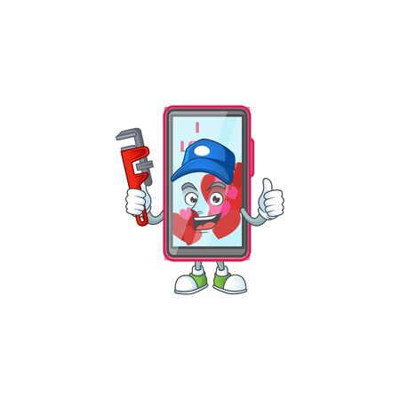Cool Plumber smartphone love on mascot picture style 向量圖像