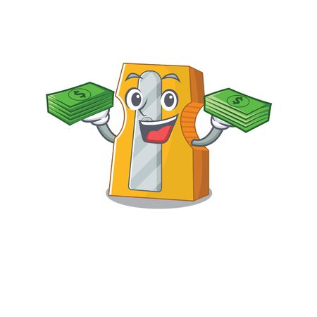 happy rich pencil sharpener character with money on hands. Vector illustration