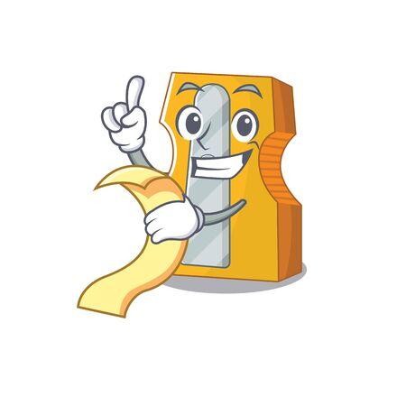 A funny cartoon character of pencil sharpener with a menu. Vector illustration