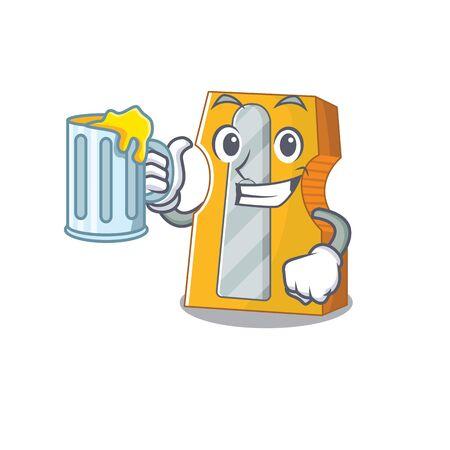 Happy pencil sharpener mascot design with a big glass. Vector illustration
