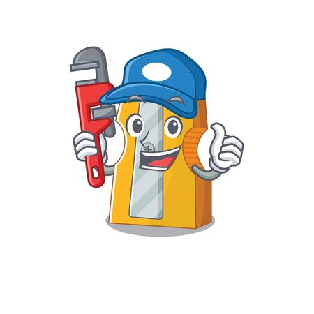 Cool Plumber pencil sharpener on mascot picture style. Vector illustration
