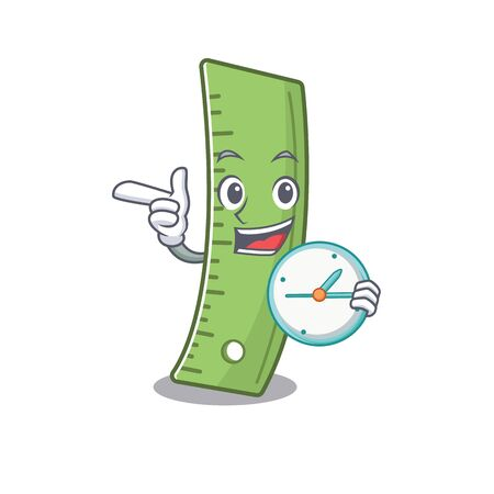 cartoon character style ruler with having clock. Vector illustration