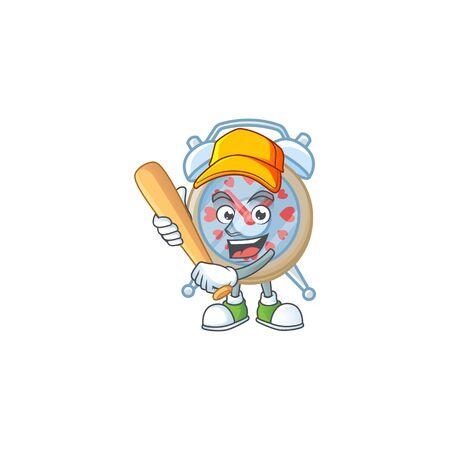 Sporty smiling clock love cartoon mascot with baseball