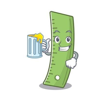 Happy ruler mascot design with a big glass. Vector illustration