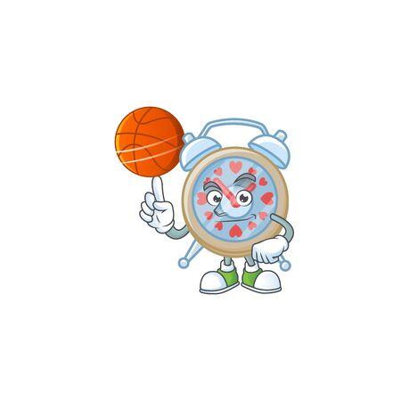 a Healthy clock love cartoon character playing basketball