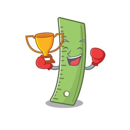 fantastic Boxing winner of ruler in mascot cartoon style. Vector illustration Ilustração
