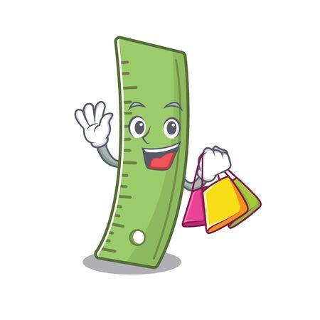 A happy rich ruler waving and holding Shopping bag. Vector illustration 일러스트