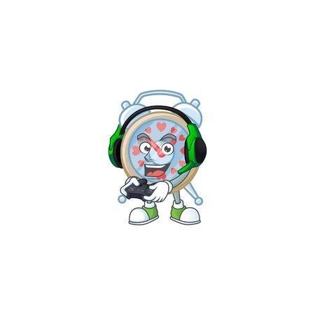 Cool clock love cartoon mascot with headphone and controller. Vector illustration Çizim