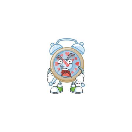 Clock love cartoon character design having angry face