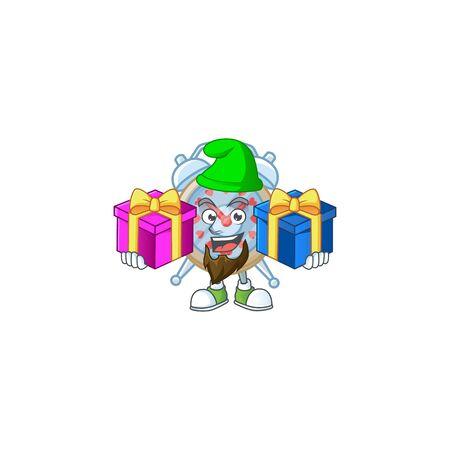 Cute clock love cartoon mascot style with Tongue out Ilustración de vector