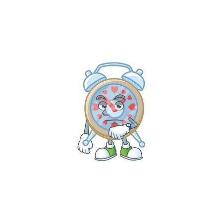 cartoon character design of clock love on a waiting gesture