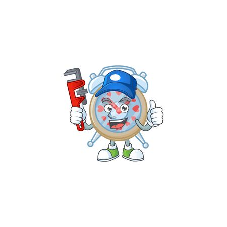 Cool Plumber clock love on mascot picture style 向量圖像