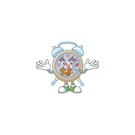 a silent gesture of clock love mascot cartoon character design