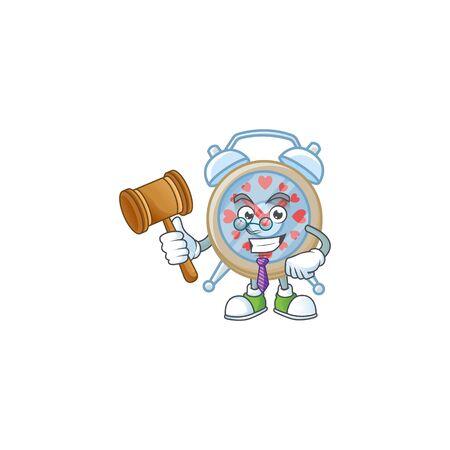 Smart Judge clock love in mascot cartoon character style