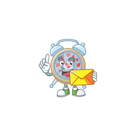 Cheerfully clock love mascot design with envelope Illustration