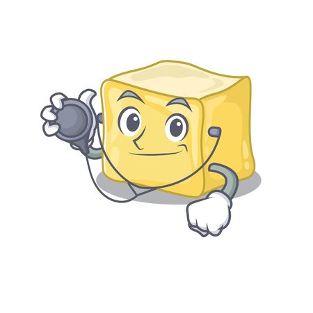 Smart and cool creamy butter cartoon character in a Doctor with tools