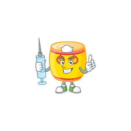 Smiley Nurse chinese gold drum cartoon character with a syringe. Vector illustration