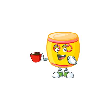 cartoon character of chinese gold drum with a cup of coffee. Vector illustration