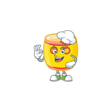 Chinese gold drum cartoon character wearing costume of chef and white hat. Vector illustration