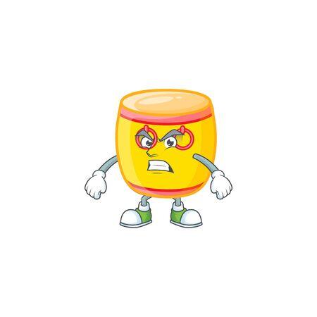 Zeichentrickfigur der chinesischen Goldtrommel mit wütendem Gesicht. Vektor-Illustration