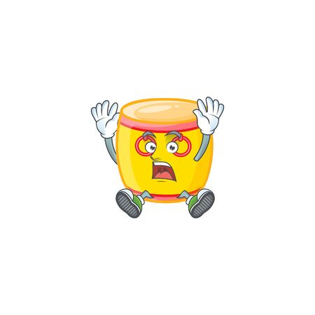 An icon character of chinese gold drum style with shocking gesture. Vector illustration