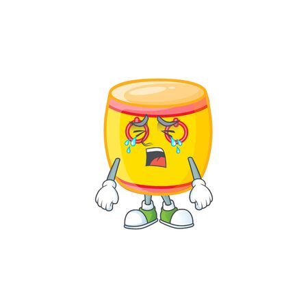 Sad of chinese gold drum cartoon mascot style. Vector illustration Illustration