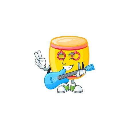 A mascot of chinese gold drum performance with guitar. Vector illustration