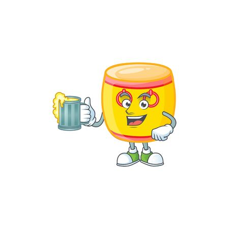 Happy chinese gold drum mascot design with a big glass. Vector illustration