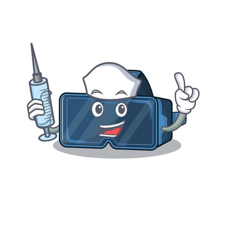 Smiley Nurse vr virtual reality cartoon character with a syringe Ilustrace