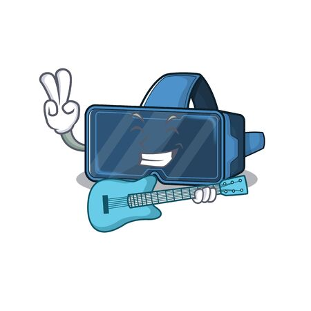 A mascot of vr virtual reality performance with guitar