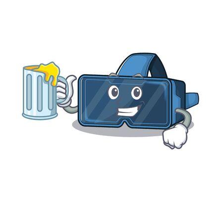Happy vr virtual reality mascot design with a big glass Ilustração