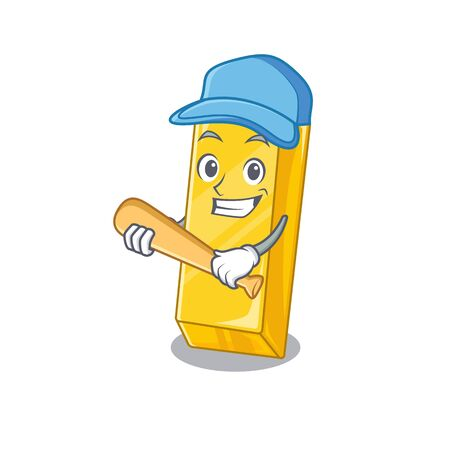 Sporty gold bar cartoon character design with baseball Illustration