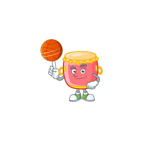 a Healthy chinese red drum cartoon character playing basketball