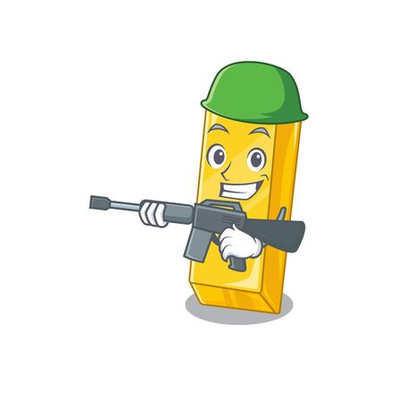 A cartoon design of gold bar Army with machine gun Ilustrace