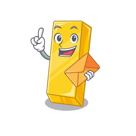 Cheerfully gold bar mascot design with envelope