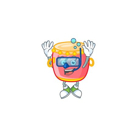 cartoon character of chinese red drum wearing Diving glasses Illustration