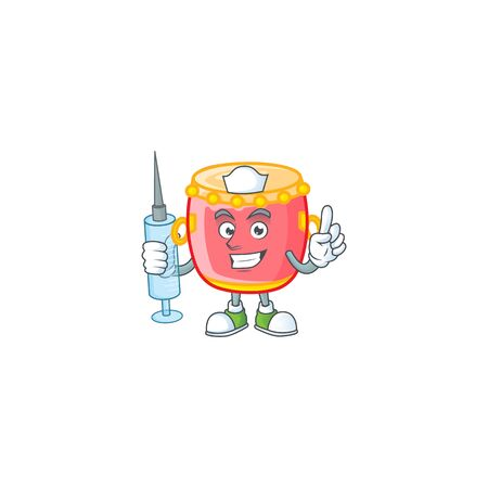 Smiley Nurse chinese red drum cartoon character with a syringe Archivio Fotografico - 137945556