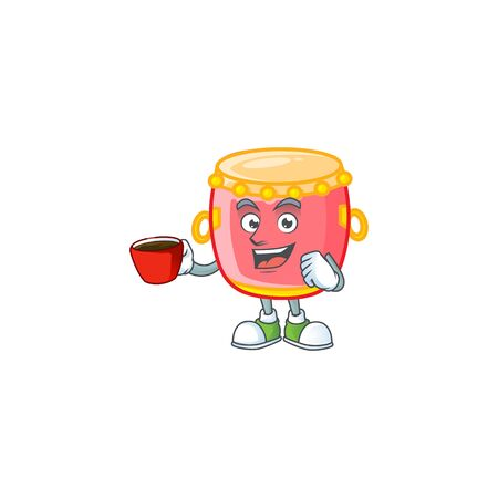 cartoon character of chinese red drum with a cup of coffee