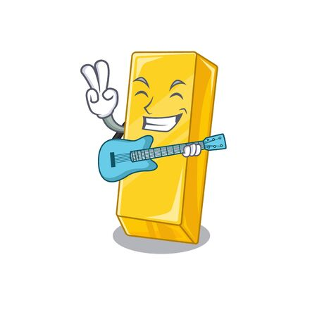 A mascot of gold bar performance with guitar