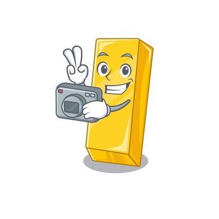 Cool Photographer gold bar character with a camera Ilustração