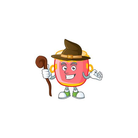 cartoon mascot style of chinese red drum dressed as a witch