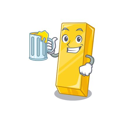 Happy gold bar mascot design with a big glass