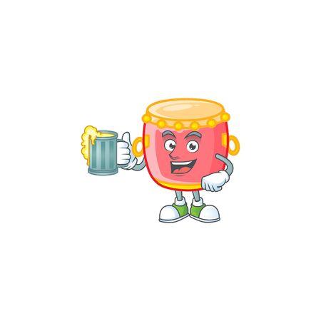 Happy chinese red drum mascot design with a big glass Ilustração