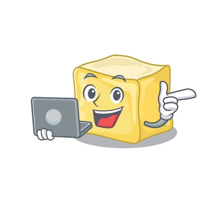 Smart character of creamy butter working with laptop