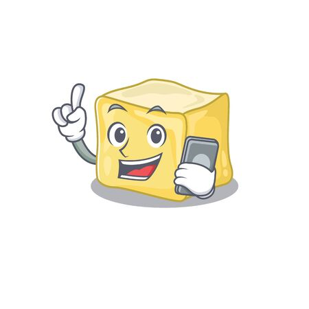 Cartoon design of creamy butter speaking on a phone