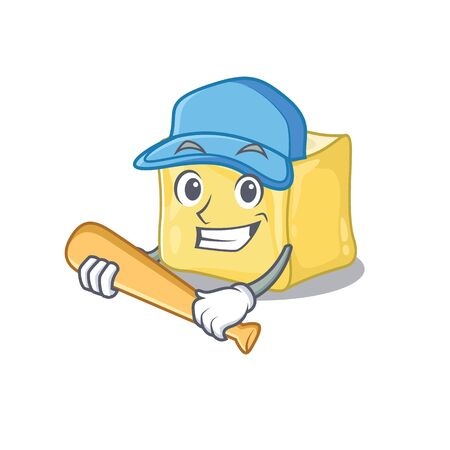 Sporty creamy butter cartoon character design with baseball