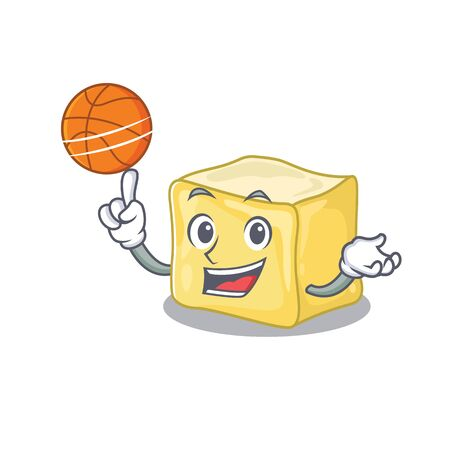 A mascot picture of creamy butter cartoon character playing basketball