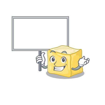 A cute picture of creamy butter cute cartoon character bring a board