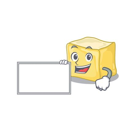 Funny creamy butter cartoon character design style with board Ilustração