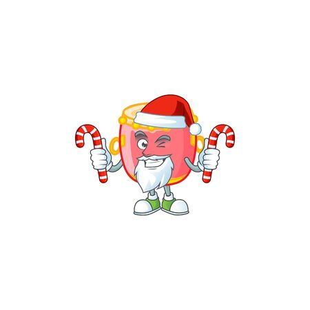 Chinese red drum Cartoon character in Santa costume with candy
